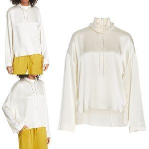 Drawstring Collar Silk Blouse